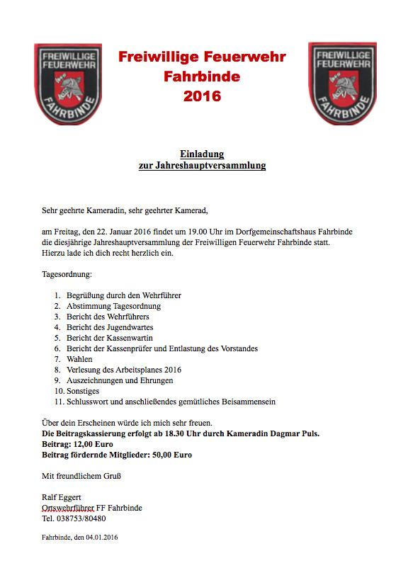 einladung zur jahreshauptversammlung – freiwillige feuerwehr fahrbinde, Einladungen