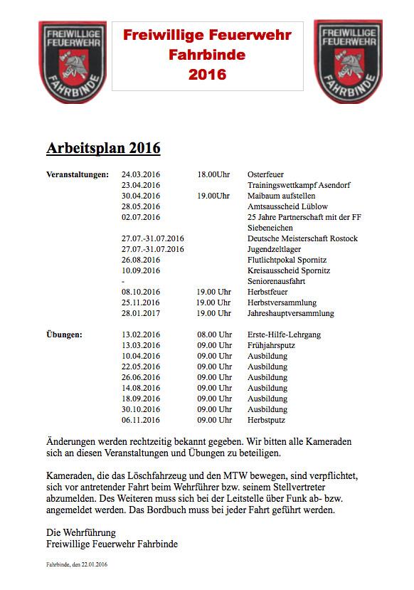 Arbeitsplan 2016 – Freiwillige Feuerwehr Fahrbinde