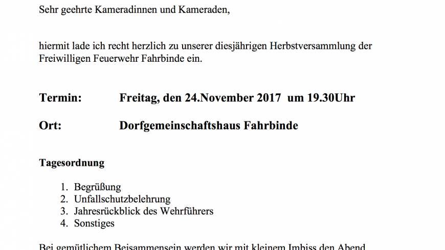 Einladung zur Herbstversammlung